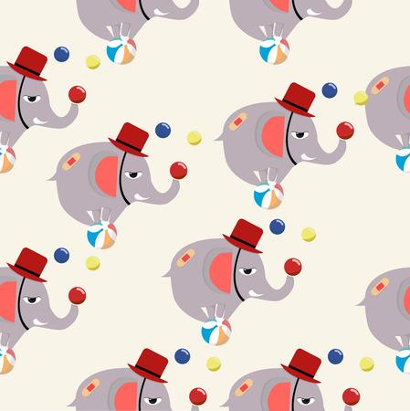 Circus elephant vector pattern