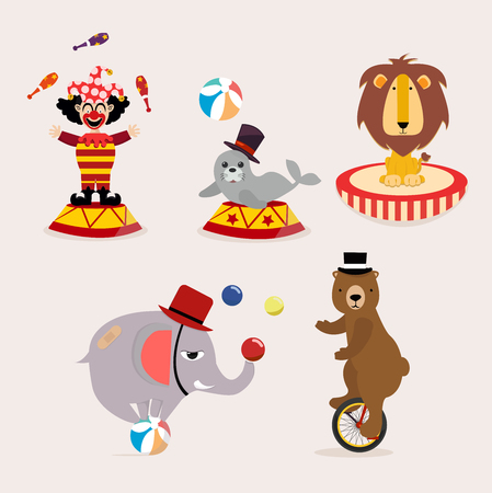 Collection de personnages de cirque mignon