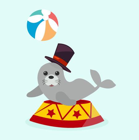 circus sea with ball illustration