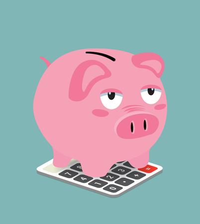 A Piggy Bank on Calculator