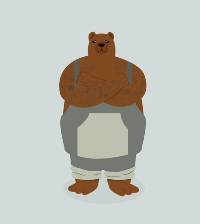 bear hipster with tattoo
