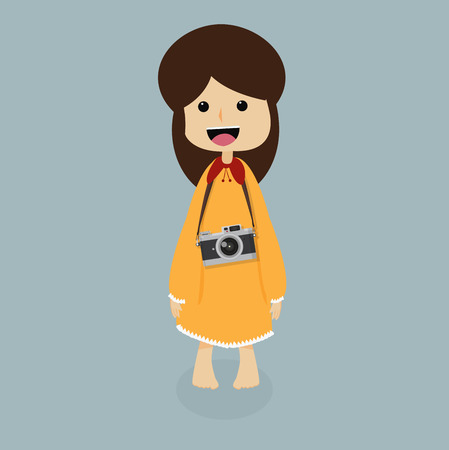 Cute girl with a camera Illustration