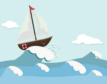 Simpatico sfondo di barca e onde