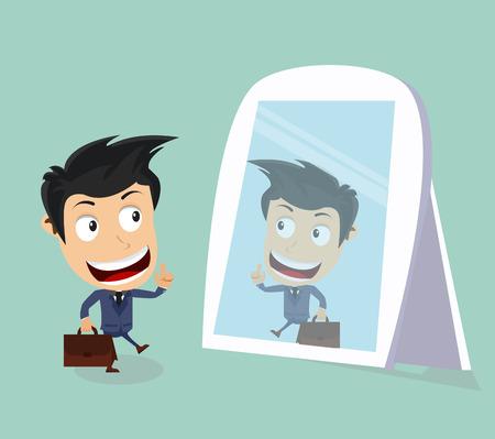 businessman looks at mirror