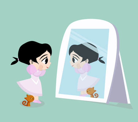 Girl looking and cat standing in front of the mirror