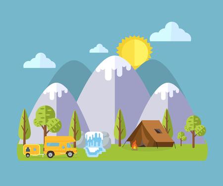 Camping Travel Landscape Illustration