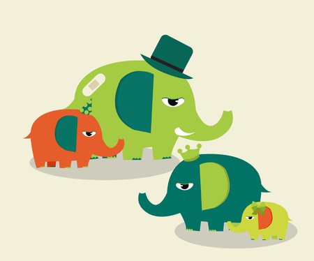 green day baby blue background: cute family elephants Illustration