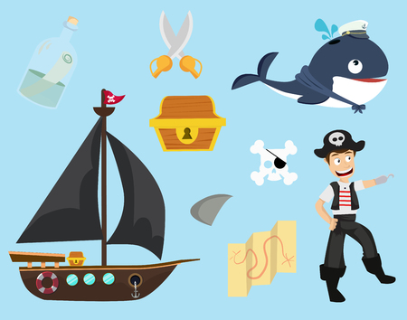 Cute of pirate collection Illustration