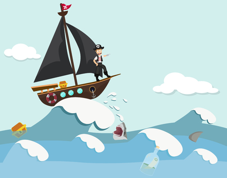 Kids in a pirate boat Illustration