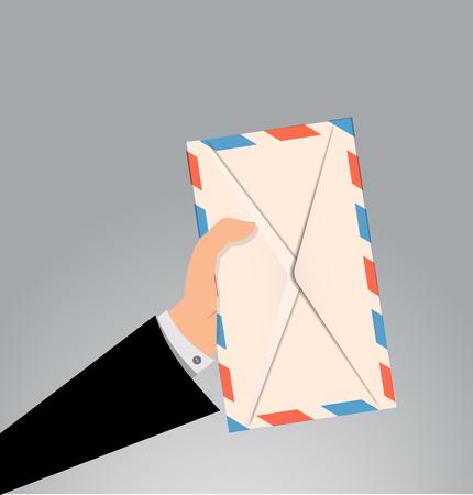 Hand holding envelope letter Illustration