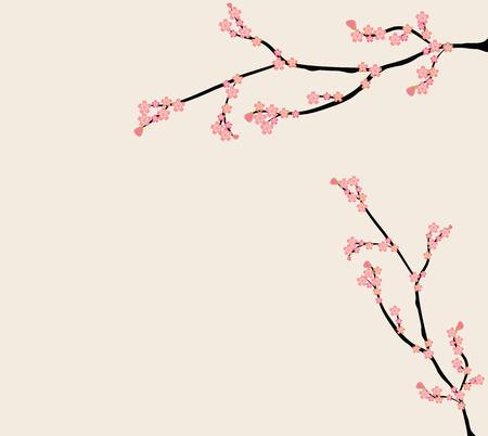 sky brunch: pink floral branch background