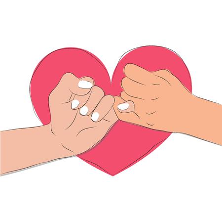main tenant Pinky jure en vecteur de forme de coeur