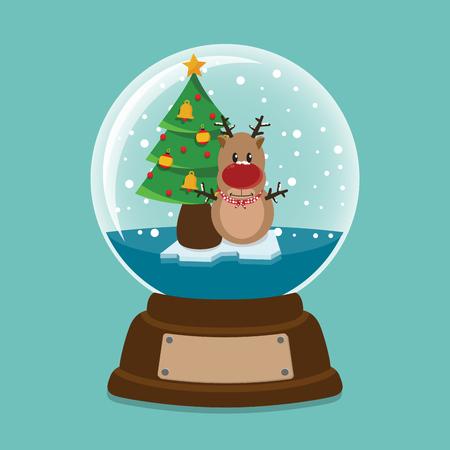 snowdeer inside a crystal ball