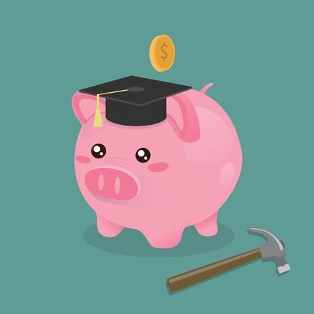 savings account: Piggy bank and hammer