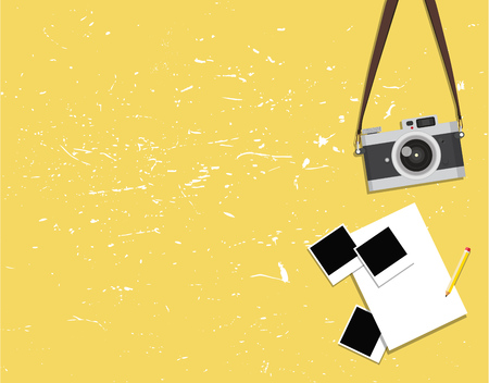 old vintage camera and photos on a yellow background Illustration