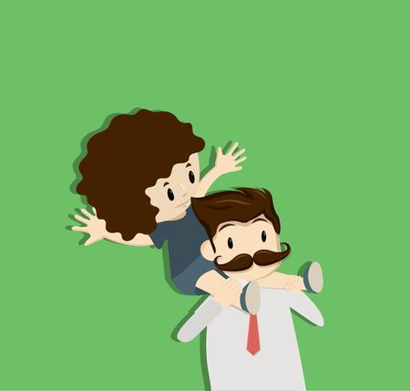 Dad Carries Daughter On Shoulders