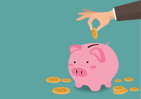 Übergeben Sie das Setzen der Münze ein Spareinlagenkonzept des Wachstums