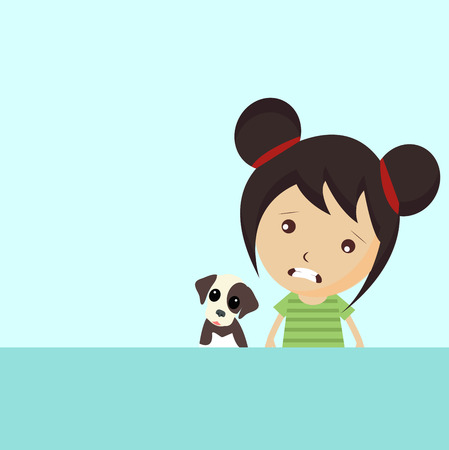 fondle: cute girl sad and  puppy Illustration