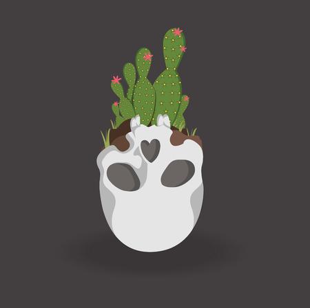 Kaktus im Schädel Standard-Bild - 82660304