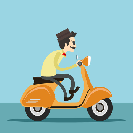 hipster man riding scooter