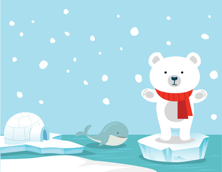 antarctic: Cute polar bear and whale background Illustration