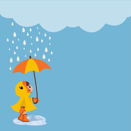girl with umbrella standing under rain