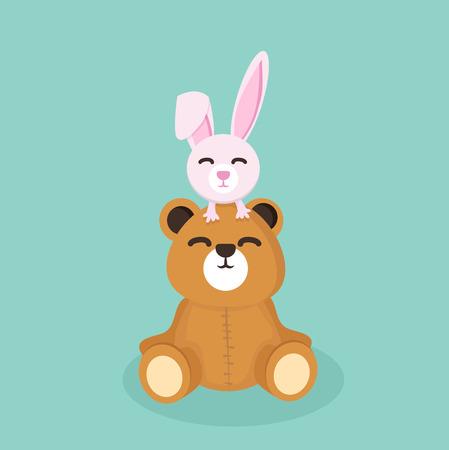 Bear doll with rabbit. Vektorové ilustrace