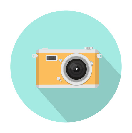shutter: Flat yellow camera icon in a blue circled background Illustration