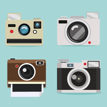 Set of camera design Vector illustration.