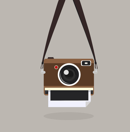 Camera with strap. Vector illustration.