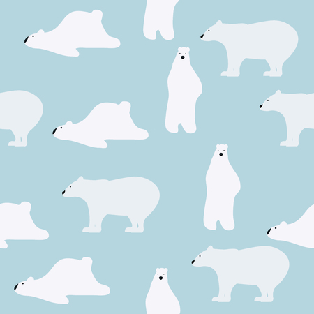A white cute polar bears seamless pattern in a blue background