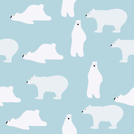 Een wit leuk ijsberen naadloos patroon op een blauwe achtergrond