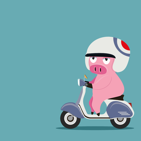 pig riding a motorbike Иллюстрация