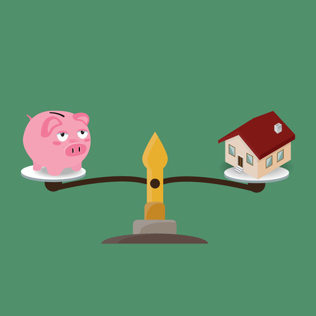weigh machine: A Piggy Bank and House on weighing machine Illustration