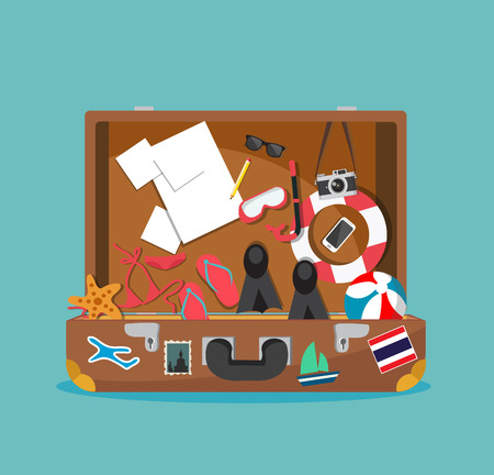 Open suitcase for summer holiday vector illustration. Illustration
