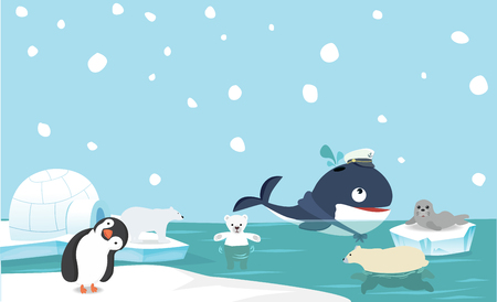 North pole animal background Vector illustration.