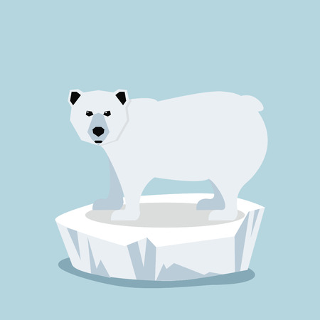 Cute Polar bear  on ice floe Vector illustration.