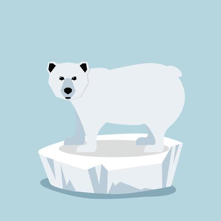 Cute Polar bear  on ice floe Vector illustration.