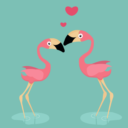 cute flamingo in love