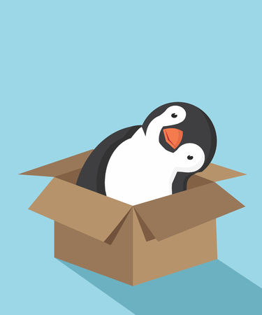 Cute Penguin cartoon in the box