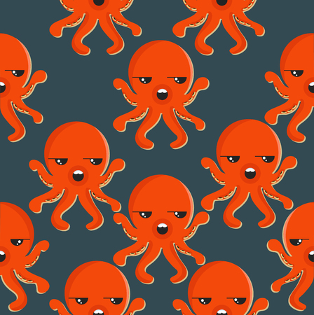 A squid pattern on a plain background.