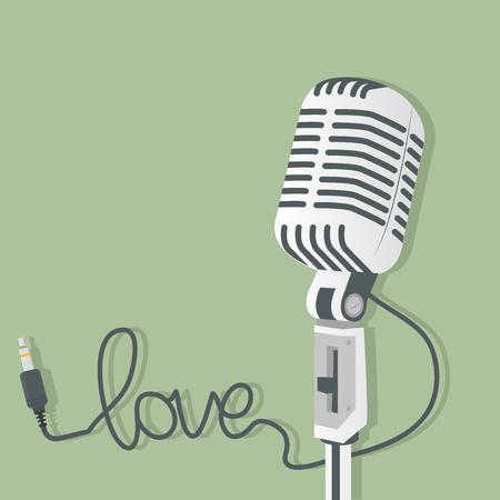 Retro microphone with audio jack Иллюстрация