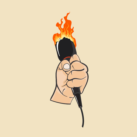 Hand with microphone Vector illustration.