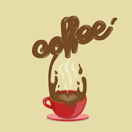 splashing coffee Vector illustration.