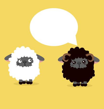 ovejitas: Ilustración de vector de burbujas de discurso de oveja negra. Vectores