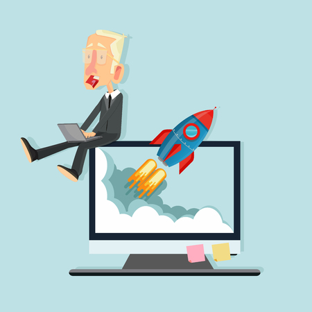 Business with Flying rocket concept Illustration