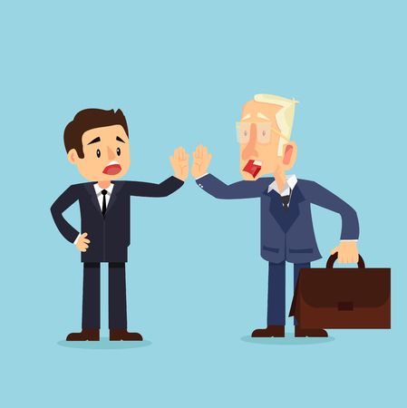 Give me high-five Two businessman