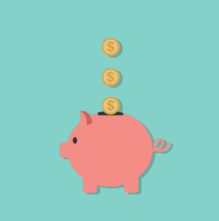 Piggy Bank with coins Illustration