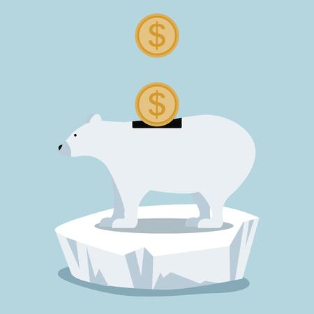 sell: Polar bear save money on ice floe.