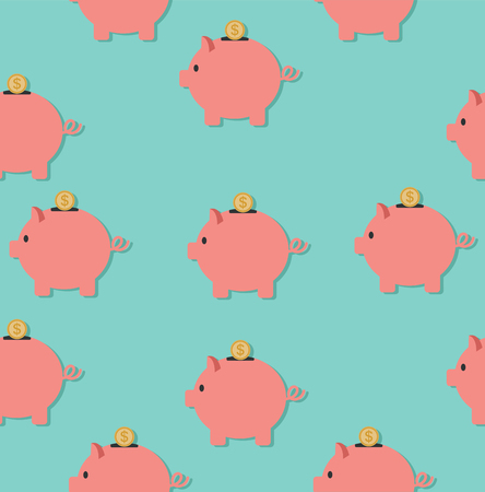 Piggy Bank with coins pattern